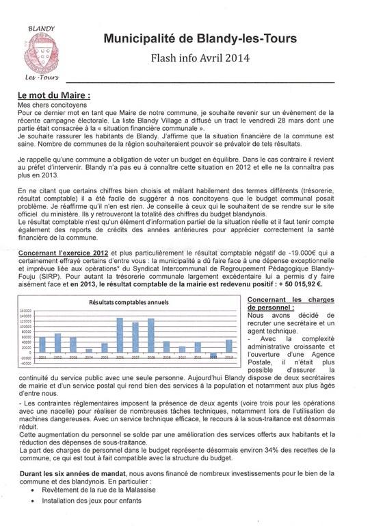 Flashinfo état financier de la commune en 2014 recto