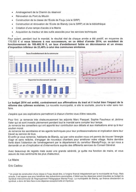 Flashinfo état financier de la commune en 2014 verso